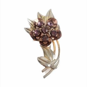 Vintage Sterling Silver Flower Brooch Art Deco Pin